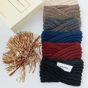 Chunky Cozy Winter Knit Headband- DARK GRAY
